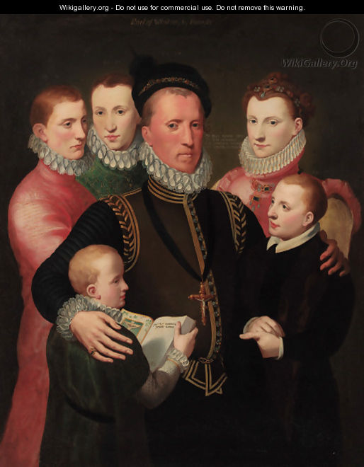 A group portrait of the Winton family, standing three-quarter-length George, 7th Lord Seton in a gold-trimmed black doublet - Sir John Baptist de Medina