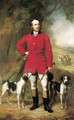 Portrait of the Hon. Ralph Nevill, full-length, in red jacket and riding britches, holding a crop in his left hand and horn in his right - John Lucas