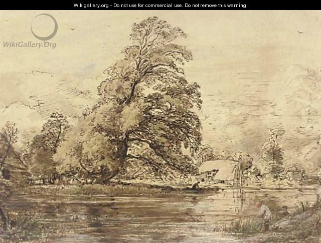 An angler on a river bank - John Linnell