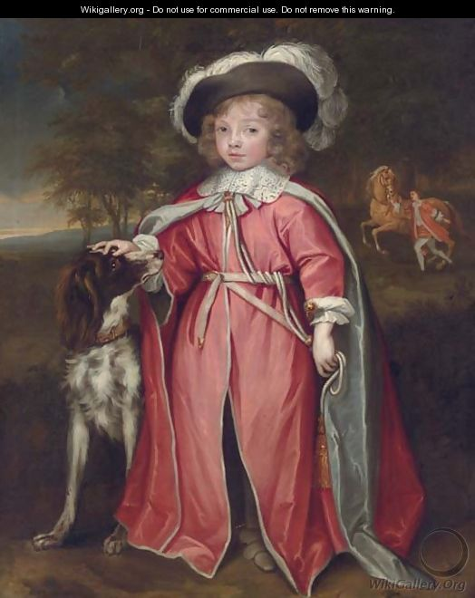 Portrait of a boy, possibly Philip, 7th Earl of Pembroke (1652-1683), full-length, in robes of the Order of the Bath, with his hound - John Michael Wright
