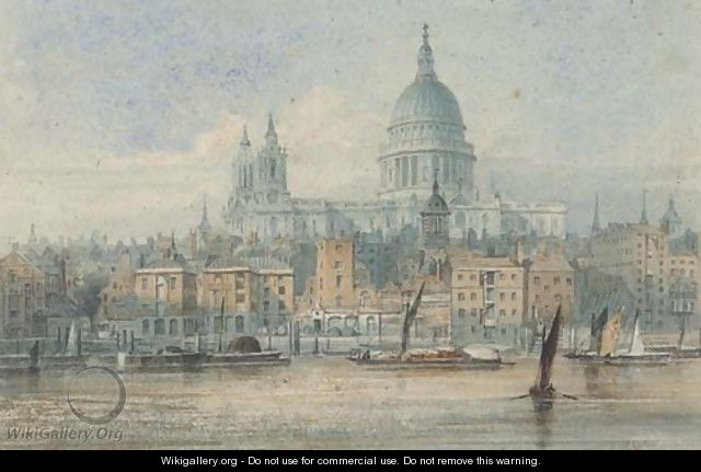 Barges on the Thames before St. Paul
