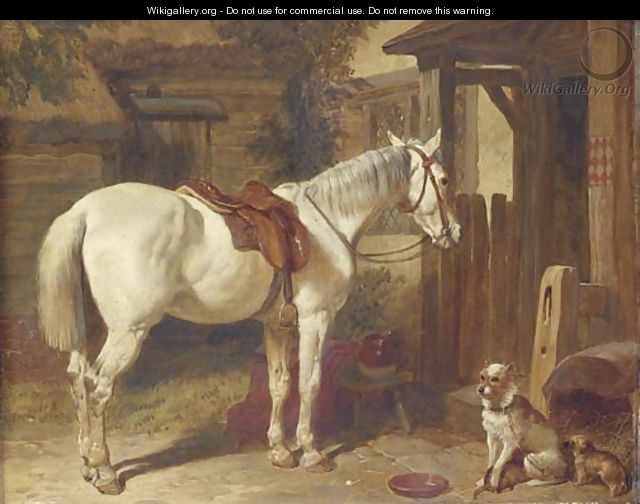 A saddled grey pony and dogs outside an inn - John Frederick Herring Snr