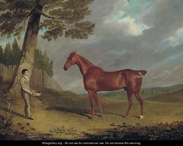 A chestnut hunter and a groom in a landscape - John Frederick Herring Snr
