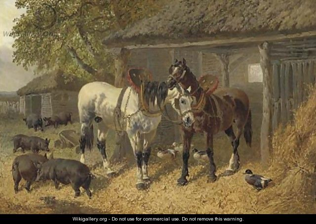 Horses, pigs and ducks in a farmyard - John Frederick Herring, Jnr.
