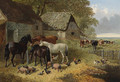 Horses, Cattle, Pigs, Chickens and Ducks in a Farmyard - John Frederick Herring, Jnr.