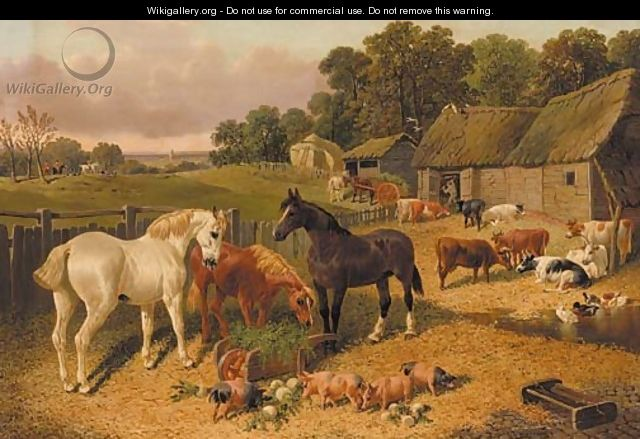 Horses, cattle, pigs, and ducks, in a farmyard, a hunt beyond - John Frederick Herring, Jnr.