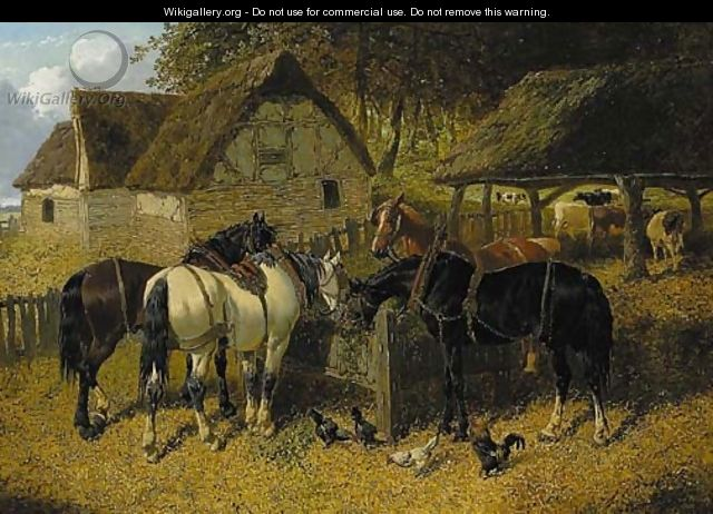 Horses feeding in a farmyard, with chickens, and cattle beyond - John Frederick Herring, Jnr.