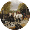 Horses at a trough, with ducks, on in a foreground - John Frederick Herring, Jnr.