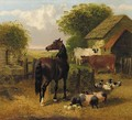 A horse, pigs, ducks and cattle in a farmyard - John Frederick Herring, Jnr.