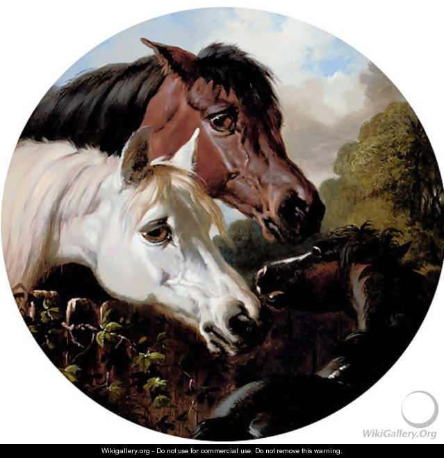 Two Horses with a Foal, by a Fence - John Frederick Herring Snr