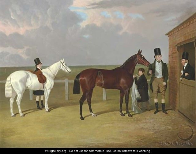 Vespa, a brown filly, held by her owner, Sir Mark Wood, Bt., her trainer seen leaning on a stable door, and a groom with a grey pony in attendance - John Frederick Herring Snr