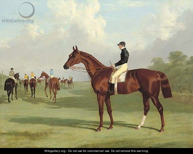 Mundig with William Scott up at the start for the 1835 Derby, jockeys and racehorses on the course beyond - John Frederick Herring Snr