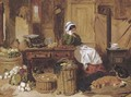 Jennie asleep at a kitchen table, surrounded by fruit and vegetables, with two dogs and a cat in front of the stove at her feet - John Frederick Herring Snr