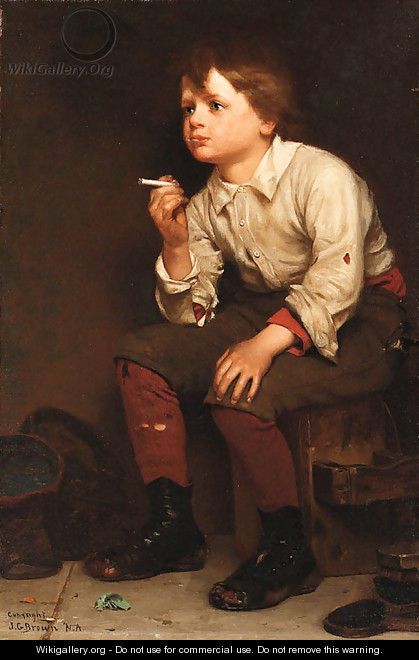 Shoeshine Boy Smoking - John George Brown