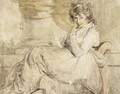 Study of an elegant young lady, traditionally identified as Emma Hamilton, seated on a chaise longue - John Hoppner