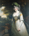 Portrait of Lady Boothby, three-quarter length, in a grey dress and with a plume in her hair, a landscape beyond - John Hoppner