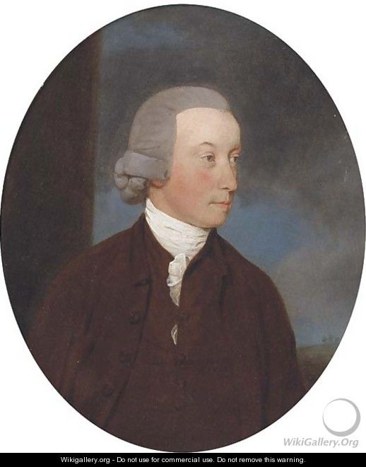 Portrait of a gentleman, small bust-length, in a brown jacket and white cravat - John Downman