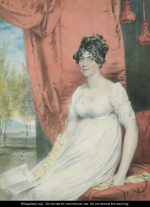 Portrait of (the younger) Miss Stuart of Albemarle Street, seated three-quarter-length, in a white dress with yellow gloves, holding a letter - John Downman