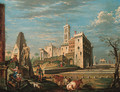 A capriccio, with a castello and figures by the Farnese Hercules - John Devoto