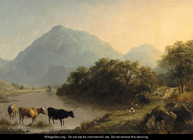 View near Beddgelert, North Wales, with cattle watering in the foreground - John Dearman