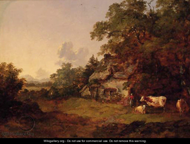 Figures before a Cottage in a wooded landscape - John Dearman