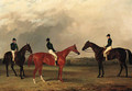 A chestnut and two bay racehorses with jockeys up in an extensive landscape - John Dalby Of York