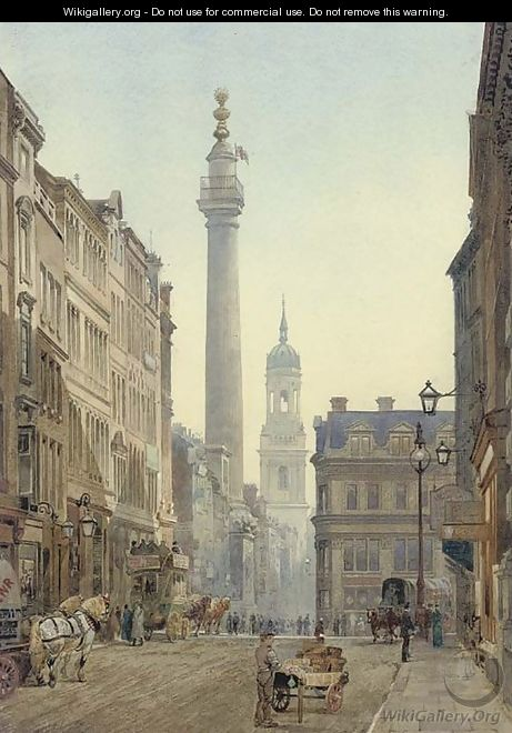 The Monument from Gracechurch Street - John Crowther