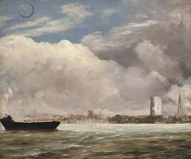 View on the Thames near Battersea Bridge, with Chelsea beyond, London - John Constable