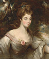 Portrait of Elizabeth, Lady Croft, half-length, in a white dress with a pink sash, in a wooded landscape - John Constable