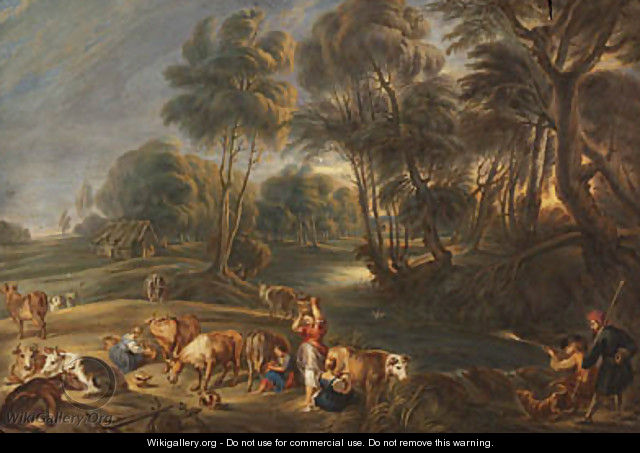 Landscape with milkmaids and huntsmen - John Constable