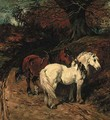 Carthorses on a wooded track - John Emms