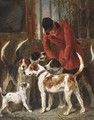 A huntsman with hounds and a terrier by a kennel door - John Emms