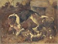 A hound and puppies with a fox's brush outside a kennel - John Emms
