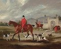 Thomas Goosey and the Belvoir hounds leaving the kennels, Belvoir Castle beyond - John Ferneley, Snr.