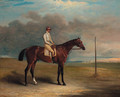 Lord Lowther's Spaniel, winner of the 1831 Derby, with jockey up, on a racecourse - John Ferneley, Snr.