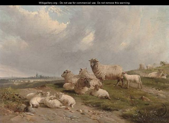 Sheep and lambs on a hillside - J. Duvall
