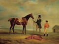 The Hon. William Maule's Ledstone, a chestnut racehorse with a trainer and jockey on a racecourse - John Ferneley, Snr.