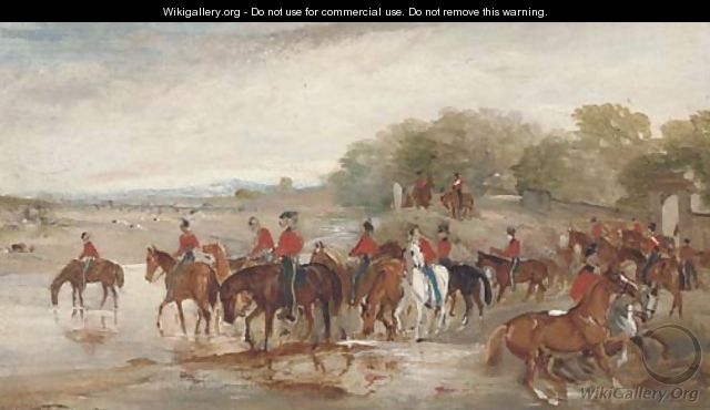 Officers watering their horses at a river - John Jnr. Ferneley