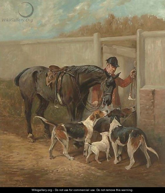 The End of the Day a huntsman returning to kennels - John Emms