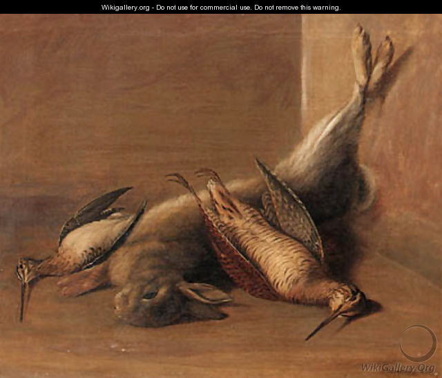 Dead Game A Woodcock, a Snipe and a Rabbit in an interior - Francis Sartorius