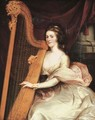 Portrait of Lady Jane Mildmay, seated three-quarter-length, in a white silk dress playing the harp - John Francis Rigaud