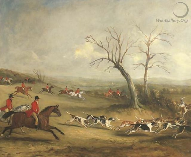 Full Cry Captain White hunting with the Quorn, with Hoby Church and Brooksby Hall in the distance - John Jnr. Ferneley