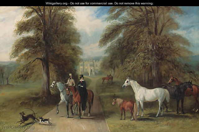 A Lady and a Gentleman setting out riding, in the park of a country house, possibly Barlborough Hall, Derbyshire, visible through an avenue of trees - John Jnr. Ferneley