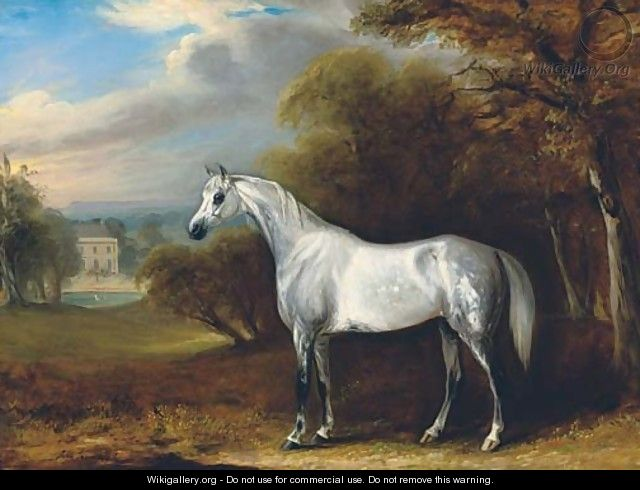 A grey Arabian in a landscape, with the south front of Hollin Hall, North Yorkshire beyond - John Jnr. Ferneley