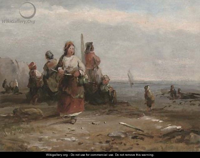 Fisherfolk along the shore - John Anthony Puller