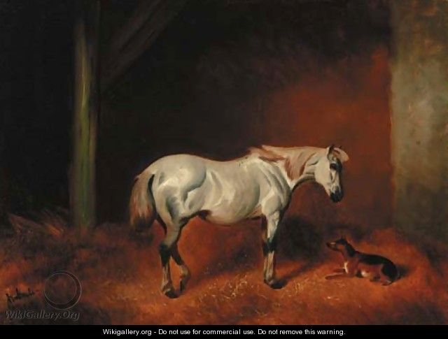 A grey pony with a dog in a stable - John Alfred Wheeler