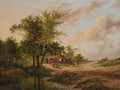 A wooded landscape with peasants at work near a cottage - Johannes Warnardus Bilders