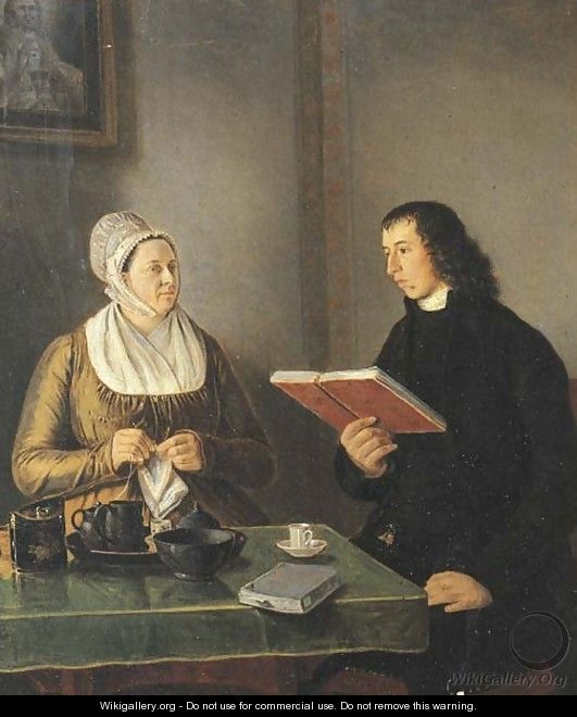 Portrait of the Reverend Hermannus Manger (1773-1844) and his wife Geertruida Coulon - Johannes Reekers