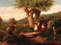 Gypsies crossing a brook - John Anthony Puller