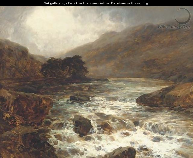 River from the hills, in full spate - John Brandon Smith